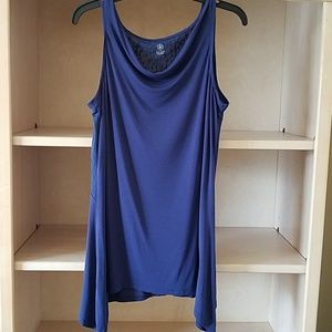 2/$10 Gaiam Royal Blue Yoga Shark Bite Tunic Top M